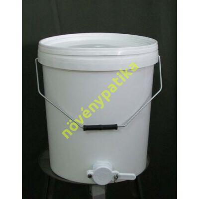 Műanyag mézleöntő tartály mézcsappal 25 kg-os